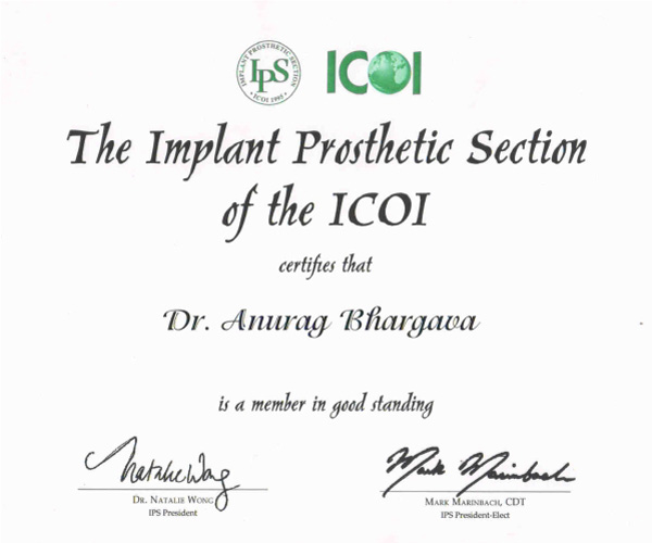 Implant Prosthetic Section of the ICOI certificate