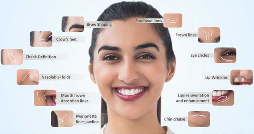 Infographic showing all types of facial plastic surgery/ aesthetic surgery.