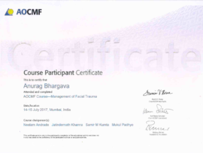 Certificate for face surgery in Indore or facial trauma treatment by AOCMF in 2017