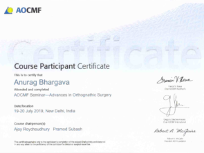 Certificate for excellence in jaw surgery in Indore or orthognathic surgery by AOCMF in 2019