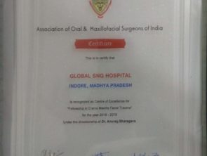 Certificate for excellence in Maxillofacial Surgery to Dr Anurag Bhargava by Association of Oral and Maxillofacial Surgeons of India