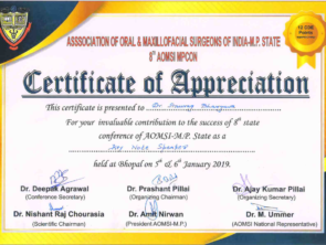 Certificate of Key note speaker at 8th conference of AOMSI in MP, India