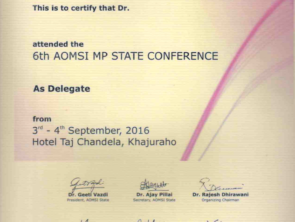 Certificate by AOMSI for face surgery conference at Khajuraho