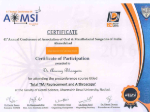 Certificate for TMJ replacement and arthroscopy by AOMSI in 2016