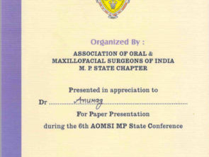 Certificate for Paper presentation at Conference of Association of Oral and Maxillofacial Surgeons of India MP state chapter in september 2016