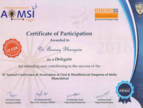 Certificate of participation in conference of Oral and Maxillofacial Surgeons of India in november2016