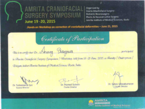 Certificate in craniofacial surgery in Indore by Amrita Craniofacial Surgery Symposium