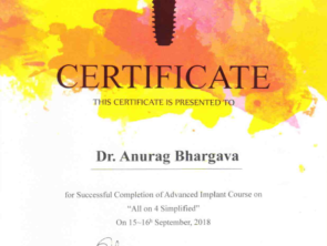 Certificate of completion of All on 4 Dental implants advance course in 2018 by Dentium Academy