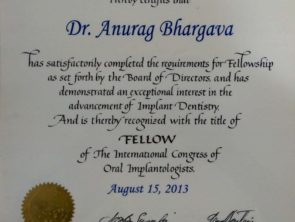 Certificate of The International Congress of Oral Implantologists- awarded to Dr Anurag Bhargava for dental implants in Indore in the year 2013