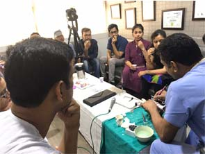 doctor demonstrating medical instrument