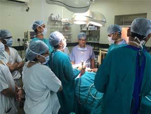 Doctors treating the patient